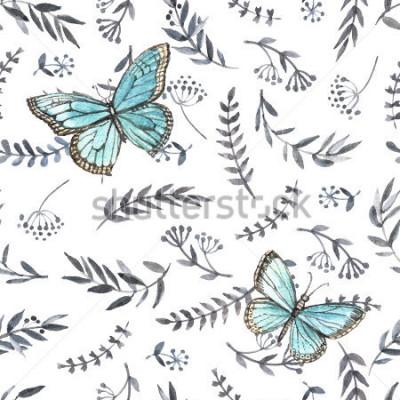 Vinilo Acuarela monocromática floral transparente con mariposas. Pintura de la mano Acuarela. Patrón sin costuras para tela, papel y otros proyectos de impresión y web.