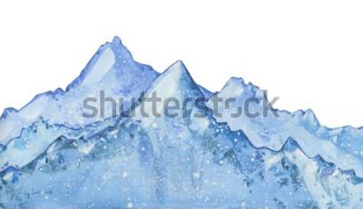 Vinilo Acuarela nevado pico de invierno azul. Dibujado a mano ilustración de invierno sobre fondo blanco.