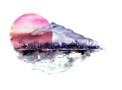 Vinilo Acuarela paisaje de montaña, azul, púrpura montañas, pico, silueta del bosque, reflejo en el río, sol rojo atardecer. Sobre fondo blanco aislado. Sobre fondo blanco aislado.