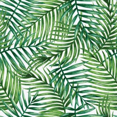 Vinilo Acuarela palmeras tropicales deja patrón transparente. Ilustración del vector.
