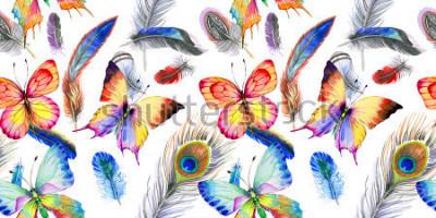 Vinilo Acuarela patrón de plumas de aves de ala. Flor salvaje de la acuarela para el fondo, la textura, el modelo la envoltura, el marco o la frontera.