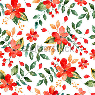 Vinilo Acuarela patrón floral sin fisuras con flores y hojas rojas. Ilustración floral colorida. Otoño o verano diseño hecho a mano para invitación, boda o tarjetas de felicitación, puede utilizarse para fon