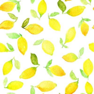 Vinilo Acuarela patrón transparente con limones amarillos. Puede ser utilizado para el papel de embalaje, fondo del cumpleaños, el día de madre y cualquier día de fiesta.