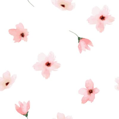 Vinilo Acuarela patrón transparente. Diseño de flores pintadas