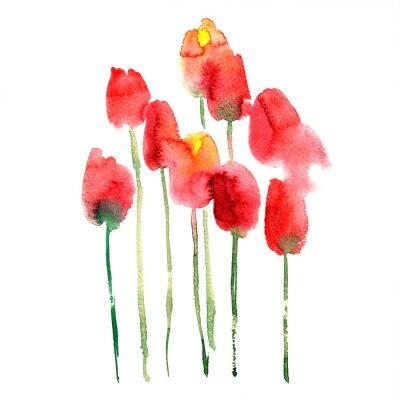 Vinilo Acuarela pintada a mano de tulipanes rojos y amarillos