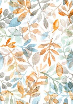 Vinilo Acuarela pintada a mano hojas y ramas. patrón transparente sobre un fondo blanco