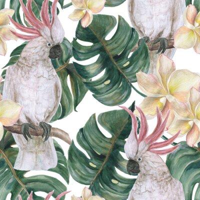 Vinilo Acuarela pintura de patrones sin fisuras con deliciosas hojas tropicales, flores de plumeria y cacatúa