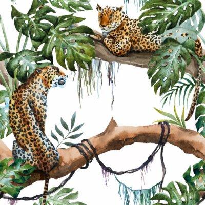 Vinilo Acuarela vector patrón de leopardo