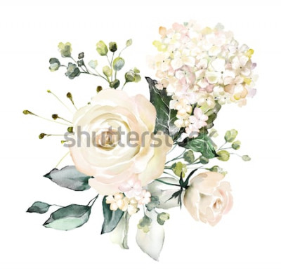 Vinilo Acuarelas flores. Ilustración floral, hojas y brotes. Composición botánica para boda o tarjeta de felicitación. rama de flores - abstracción rosas, hortensias