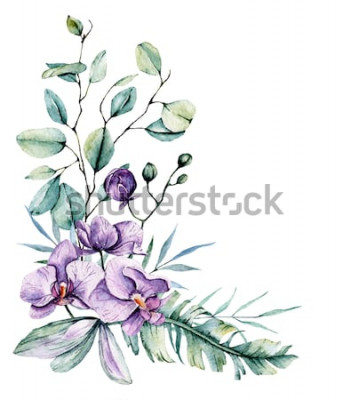 Vinilo Acuarelas flores tropicales, borde con hojas y orquídeas. Pintura botánica, arreglo para tarjeta de boda, saludos, fondos, invitación, blog, etc. Aislado en blanco.