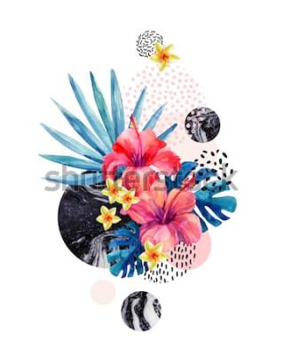 Vinilo Acuarelas flores tropicales sobre fondo geométrico con marmoleado, texturas doodle. Flor dibujada a mano con abanico de palma, hojas de monstera, formas geométricas en estilo minimalista. Ilustración