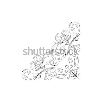 Vinilo Adorno barroco con filigrana en formato vectorial para marco de diseño, patrón. Elemento floral dibujado mano del victorian o del damasco del vintage. Tinta grabada en blanco y negro.