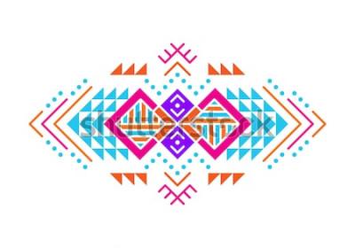 Vinilo Adorno de estilo azteca. Diseño de patrón ornamental indio americano. Plantilla decorativa tribal. Ornamentación étnica. Fondo colorido.