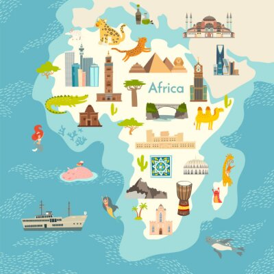 Vinilo Africa continent, world map with landmarks vector cartoon illustration. Abstract African landmarks, animals, sign and icon cartoon style.  Poster, art, travel card