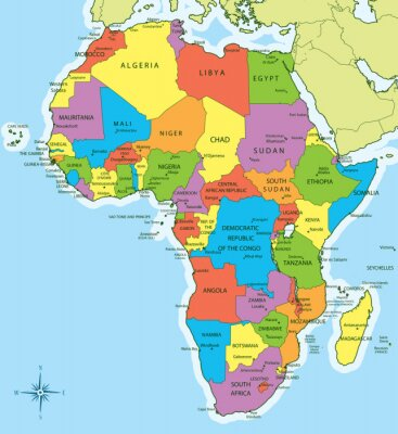 Vinilo Africa map with countries and cities