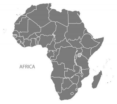 Vinilo África Mapa con países gris