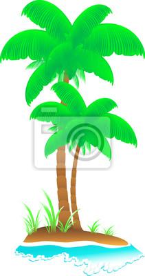 Aislado De Dibujos Animados Isla Tropical Con Olas Mar Palmeras