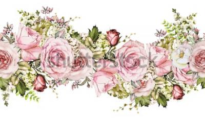 Vinilo aislado Frontera sin costuras con flores rosas, hojas. patrón floral acuarela vintage con hojas y rosas. Color pastel. Borde floral sin costuras, banda para tarjetas, boda o tela.