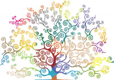 Vinilo albero con rami curvi e colorati