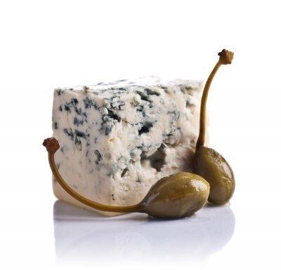Vinilo Alcaparras enlatadas y queso azul sobre fondo blanco