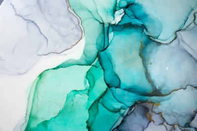 Vinilo Alcohol ink sea texture. Contemporary art. Spots of oil paint. Abstract art background. Multicolored bright texture. Fragment of artwork. Modern art. Inspired by the sky, as well as steam and smoke.