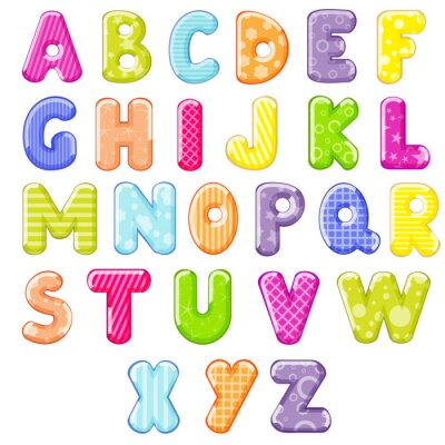 Vinilo alfabeto de dibujos animados