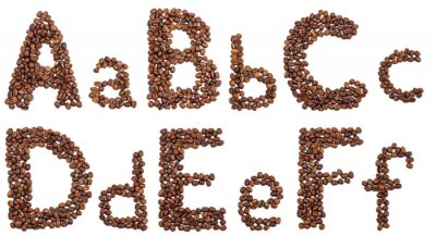 Vinilo Alfabeto de granos de café aislado