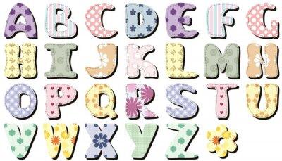 Vinilo Alfabeto de libro de recuerdos sobre fondo blanco