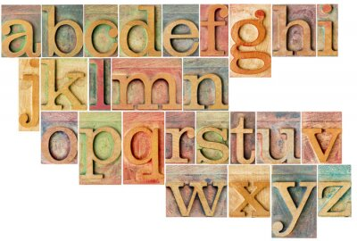 Vinilo alfabeto en letterpress tipo de madera