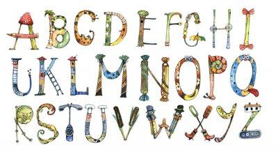 Vinilo Alfabeto, letra, acuarela