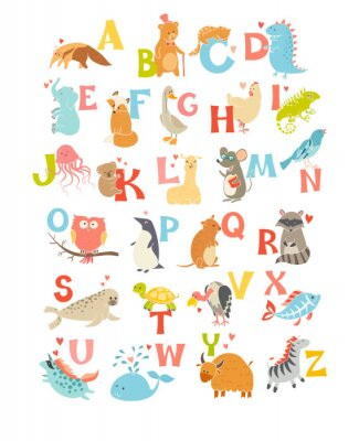 Vinilo Alfabeto lindo del parque zoológico del vector. Animales divertidos de dibujos animados. Ilustración vectorial EPS10 aislado sobre fondo blanco. Letras. Aprender a leer