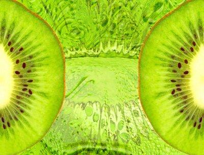 Vinilo Alimentación de fondo con rodajas de kiwi verde.