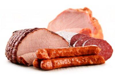 Vinilo Alimentos de origen animal incluyendo jamón y embutidos aislados en blanco
