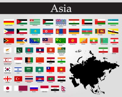 Vinilo All flags of Asia. Vector illustration. World flags
