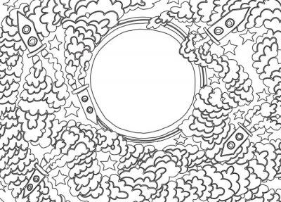 Vinilo Alrededor de la Luna (ilustración vectorial)