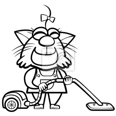Ama De Casa De Gato De Dibujos Animados Para Colorear Con Una