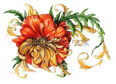 Vinilo Amapola naranja con pergaminos dorados 1