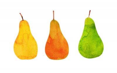 Vinilo amarillo, naranja, peras verdes aisladas