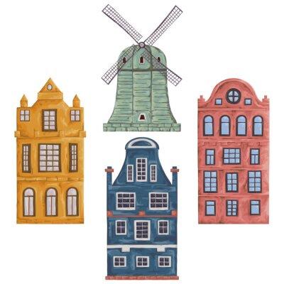 Vinilo Ámsterdam. Antiguos edificios históricos y la arquitectura tradicional de los Países Bajos. Molino de viento y casas. Elementos aislados. Vintage dibujado a mano ilustración vectorial en estilo de acu