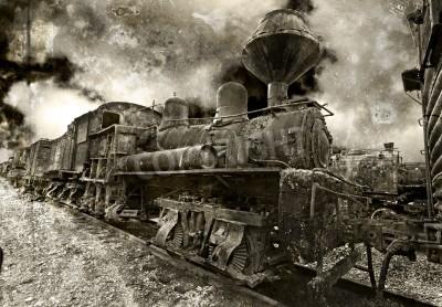 Vinilo An old rusting vintage steam locomotive