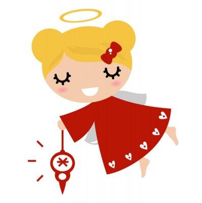 Vinilo Ángel niña adorable con la decoración de Navidad (rojo)