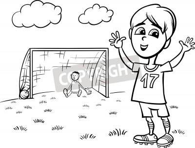Animados blanco y negro ilustración de lindo niño que juega a ...