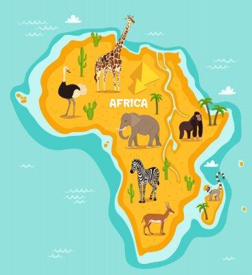 Vinilo Animales africanos animales ilustración vectorial. Fauna africana, avestruz, jirafa, elefante, mono, cebra, lemur, antílope en estilo de dibujos animados. Continente africano en el océano azul con ani