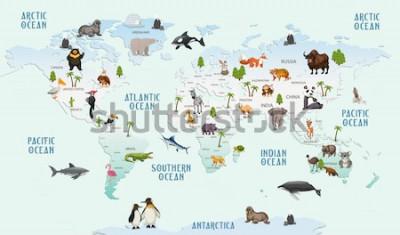 Vinilo animales del mapa del mundo para el papel pintado de la habitación del niño