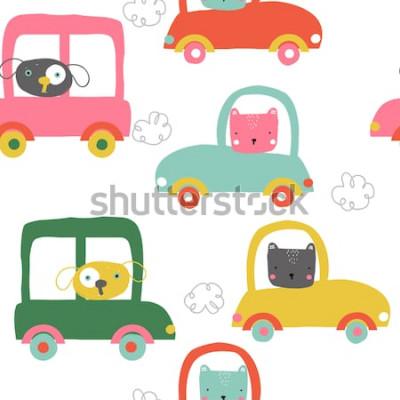 Vinilo Animales graciosos en patrones sin fisuras de coches. Niños lindos imprimir. Vector dibujado a mano ilustración.
