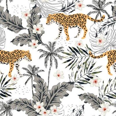 Vinilo Animales tropicales del leopardo, flores del plumeria, hojas de palma, árboles, fondo blanco. Patrón transparente de vector Ilustración gráfica Diseño floral de playa de verano. Plantas exóticas de la