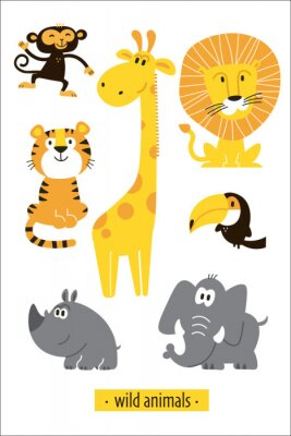 Vinilo Animals vector set. Cartoon Monkey, giraffe, lion, hippo, elephant, tiger, toucan pirate. Perfect for wallpaper,print,packaging,invitations,Baby shower,birthday party,patterns,travel,logos etc
