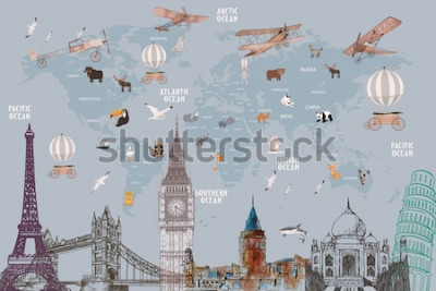 Vinilo Animals world map and famous landmarks of the world for kids wallpaper design
