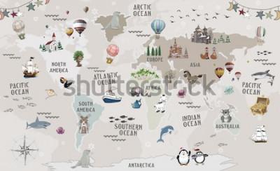 Vinilo Animals world map for kids wallpaper design