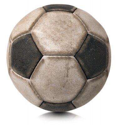 Vinilo Antiguo balón de fútbol aislado en blanco / Detalle de un viejo balón de fútbol blanco y negro aislado sobre fondo blanco